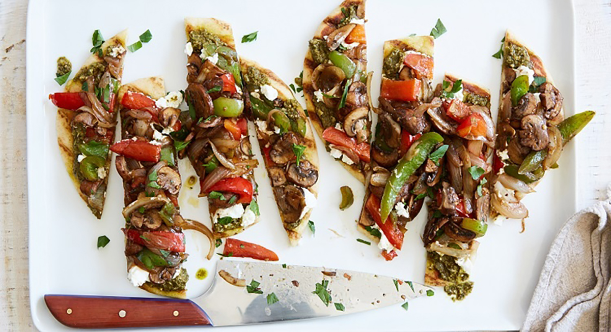 Pesto-Goat Cheese Vegetable Flatbreads by Terra's Kitchen