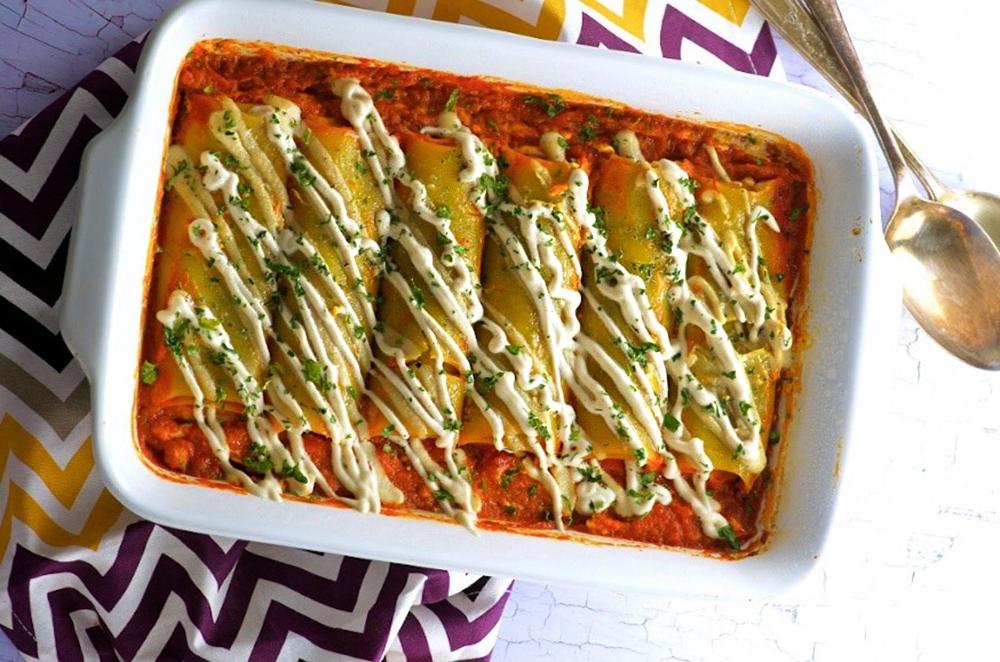 Pumpkin Stuffed Green Lentil Cannelloni by Explore Cuisine