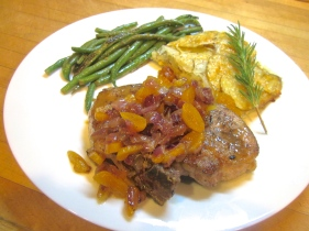 Seared Pork Chops with Apricot Brandy Sauce is a classic à la minute hotline dish, where a piece of meat is seared and then the pan it was cooked in is deglazed with liquid to dissolve all those luscious caramelized bits left behind.