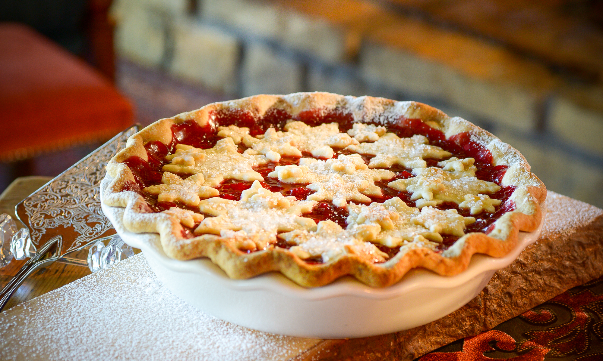 This recipe for Snowflake Cherry Pie is featured in the recently releasedChristmas in Homesteade-book, written by Kara Tate, fromHallmark Publishing. Perfect not only for Christmas, but year-round!