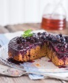 Start with thin layers of cornmeal and blueberries, sprinkled with flour, filled with delicious batter, and for dramatic flair, invert the baked coffeecake for a crown of beautiful blueberries.