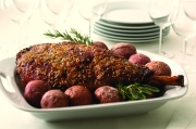 Nothing says love like a gorgeous and delicious meal, especially one made with Leg of Lamb and crisp and creamy roasted red potatoes. Gather your family around the table and enjoy.