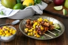 Three favorite things: jerk-rubbed chicken, mango and salsa. This recipe for Jerk Rubbed Chicken Skewers with Mango Salsa is Stephen Curry and we're sure dad will concur!