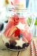 Large batch Red, White, and Blue Sangria is not only incredibly tasty but it looks beautiful when served in a 2-quart glass pitcher. Impress your guests with a cocktail that's just as exciting as the fireworks.