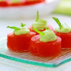Try this cool summer treat made with fresh watermelon, cream cheese and lime yogurt.