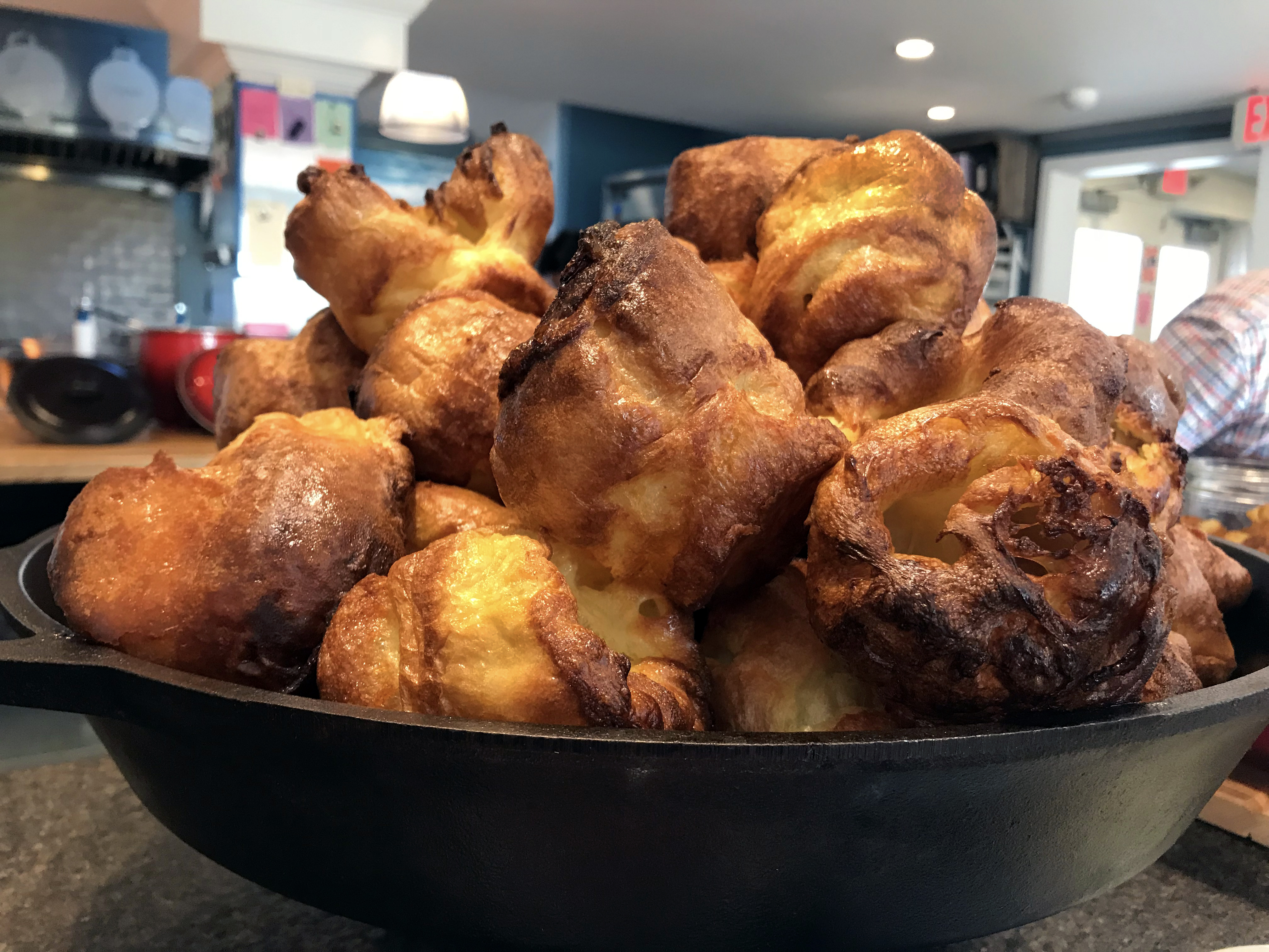 A traditional English Yorkshire Pudding served at Cornman Farms.
