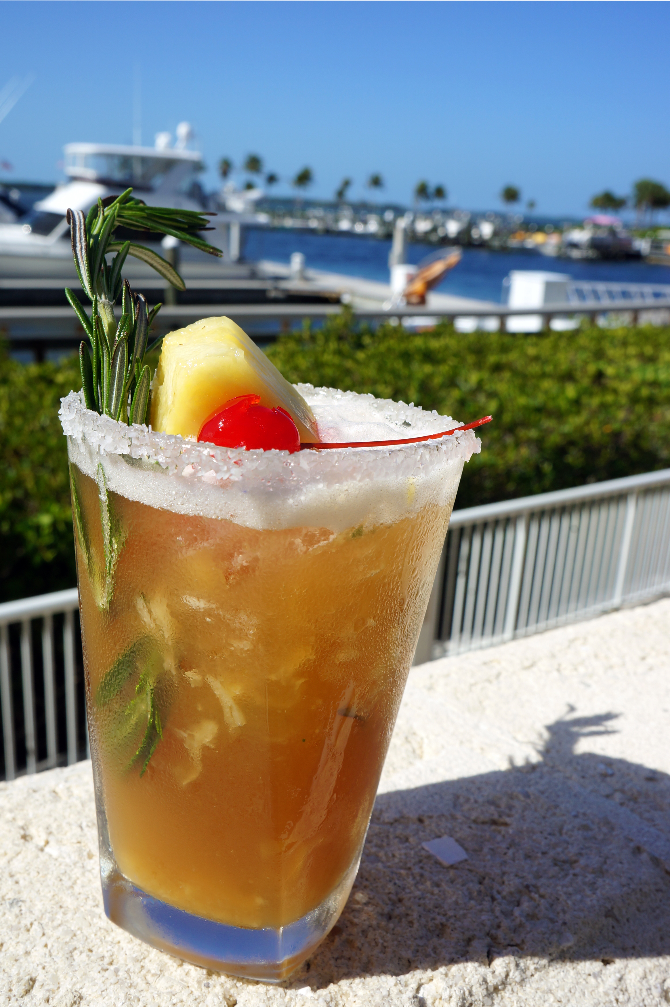 Marker 92 at the Westin Cape Coral Resort at Marina Village puts an herbaceous and tropical twist on its signature margarita, pairing fresh-squeezed pineapple and savory rosemary with Milagro Reposado Tequila, cherry Heering, agave simple syrup, and lime and orange bitters.
