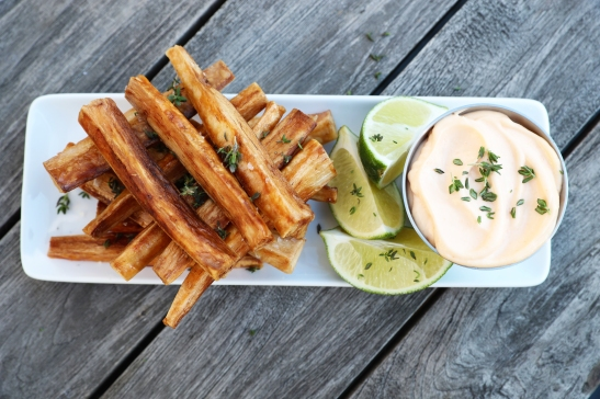 Cassava is commonly referred to as the Yucca Root, a starchy vegetable that can be treated just like a potato! Paired with a sriracha mayo, this side dish is best with Brazilian barbecue.