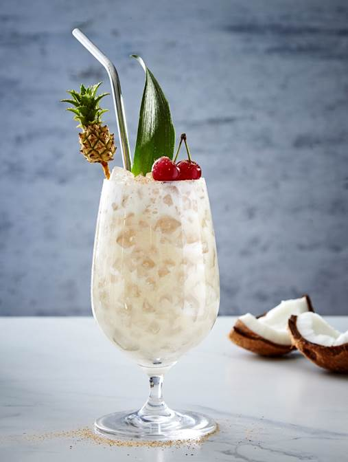 The pineapple colada featuring ciroc vodka, lime juice, coconut cream and pineapple juice.