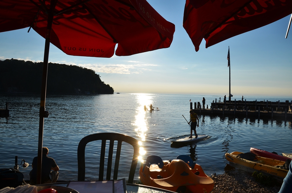 Sitting lakeside at Fred and Fuzzy's Restaurant in Door County, Wisconsin.