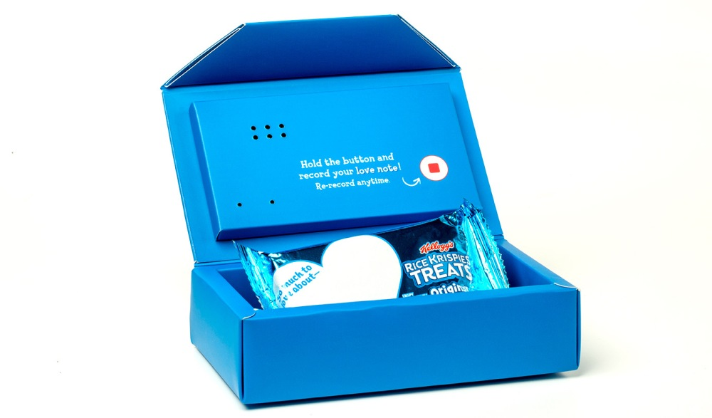 For children who are auditory learners or don't read Braille, the re-recordable audio box holds Rice Crispy Treats inside and, when opened, plays a 10-second pre-recorded message. The boxes can be recorded over more than 1,000 times, so can last throughout the school year.