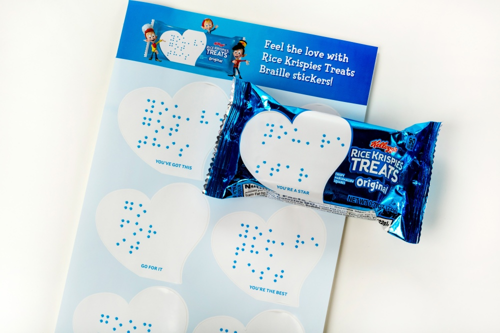 In its partnership with the National Federation of the Blind, Kellogg's has created packaging that features Braille stickers and re-recordable audio boxes, so families and friends can share messages with those who are vision impaired.