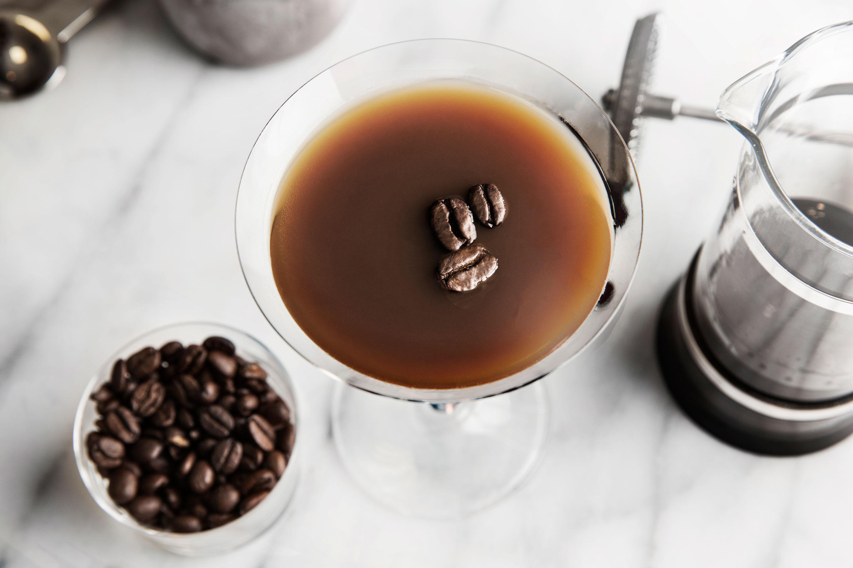 The double espresso martini is a blend of double espresso and Nero vodkas with Irish cream.