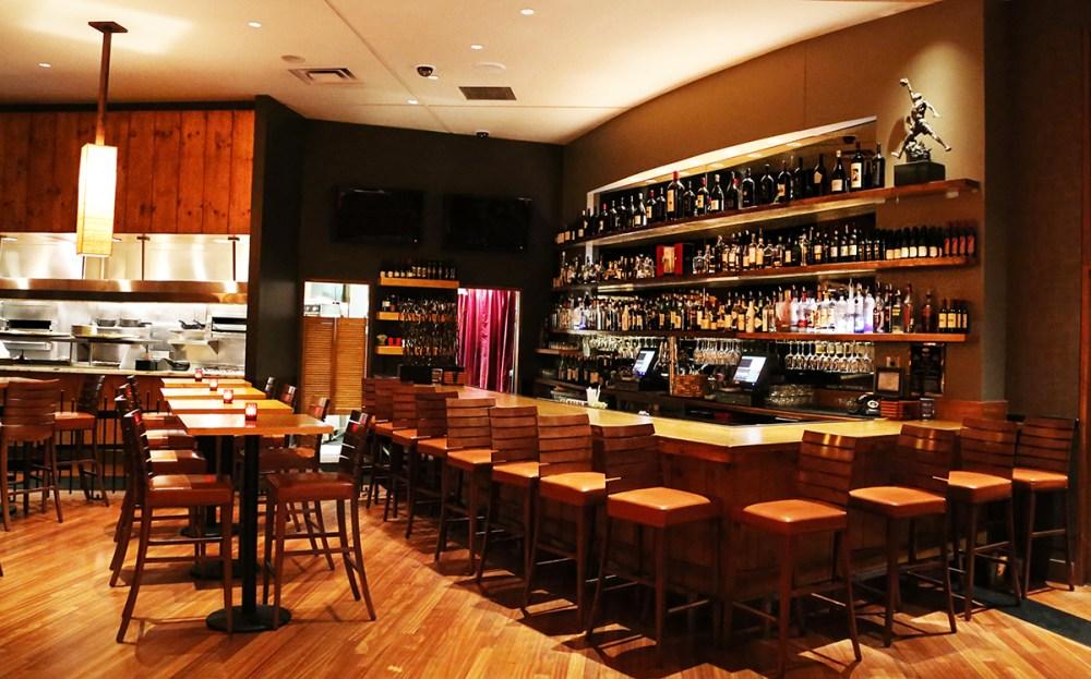 Interior photo of the bar at Michael Jordan's Steak House.
