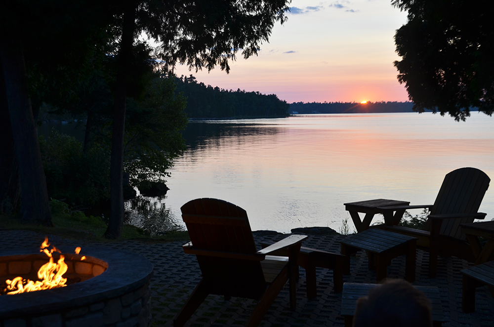 Sunset over Lake Michigan at the Top Deck Restaurant in Door County Wisconsin.