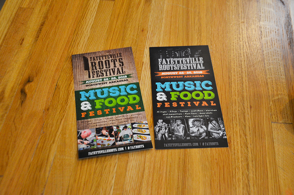 Promotional brochures for the Fayetteville Roots Festival.