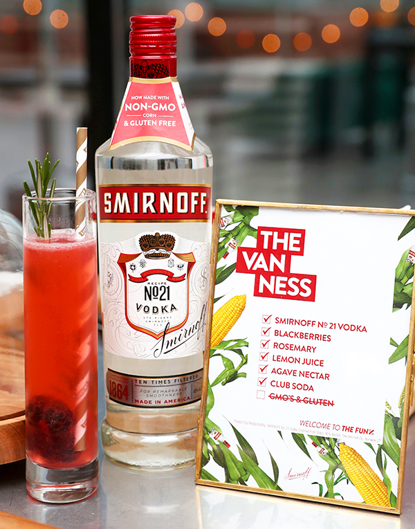 The Van Ness is made with Smirnoff vodka, blackberries, a rosemary sprig, lemon juice, agave nectar and club soda.