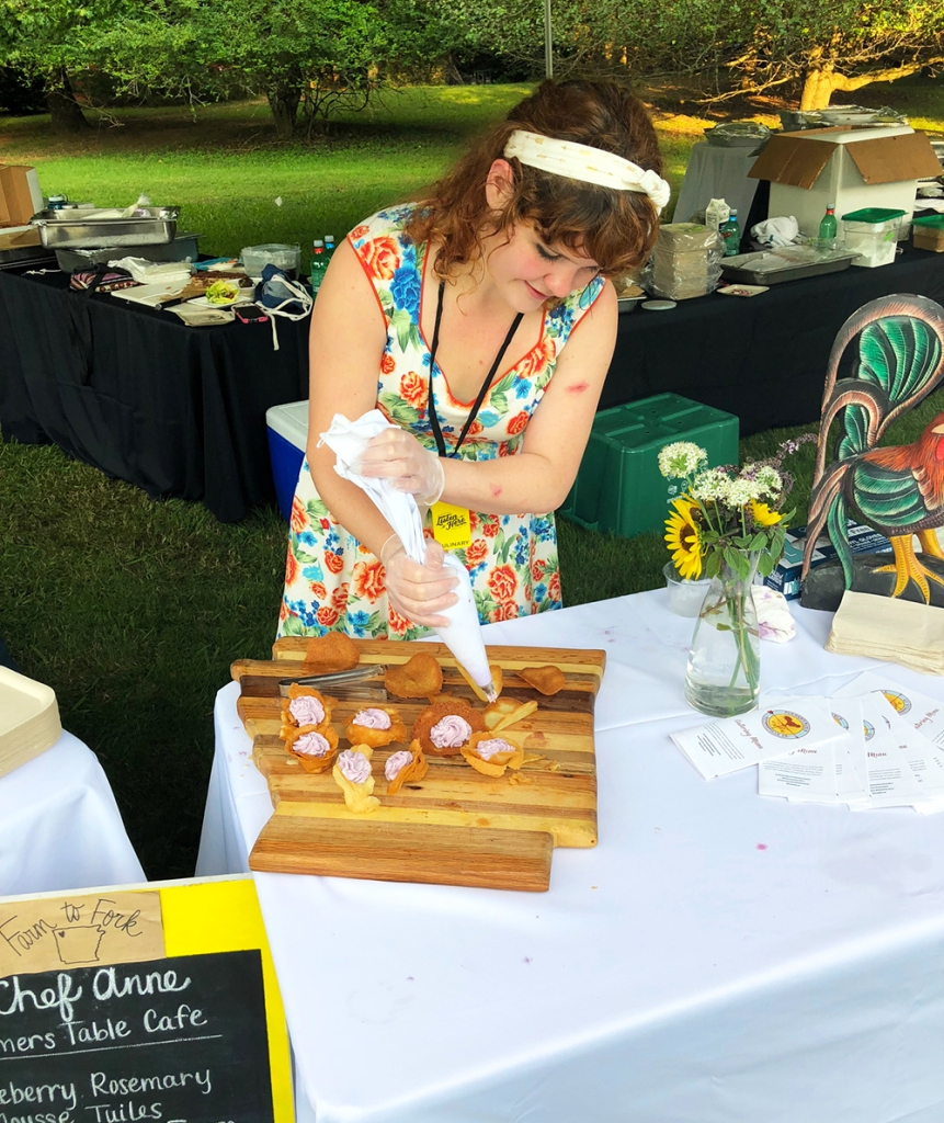 Chef Anne Carroll's tent at the Fayetteville Roots Festival featured blueberry rosemary mousse.