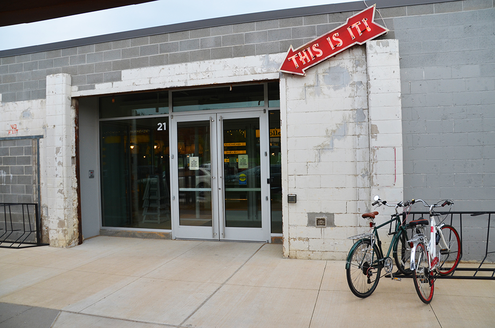 The entrance to the Holler opens into a large atrium with Brightwater, a center for the study of food, in the center of businesses and restaurants.