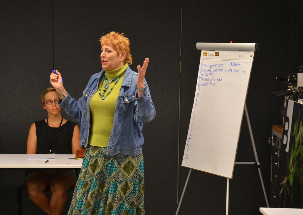 Crescent Dragonwagon leads a workshop on fearless writing during The Roots Festival in Northwest Arkansas.