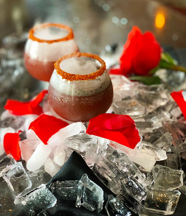 This scream-worthy cocktail comes from the acclaimed San Diego Osetra Seafood & Steaks, in the heart of San Diego's historic Gaslamp Quarter. The Bloody Charro was created by Bar Manager Marcelo Amaya. It's a dry ice cocktail with rich black color and a vibrant red rim.