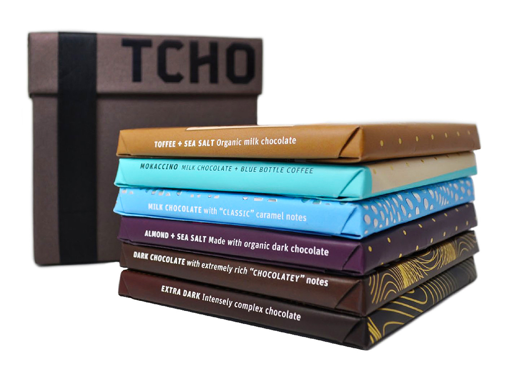 TCHO is a company based in Berkley, California, that produced ethically sourced chocolates in a variety of forms for using in recipes, beverages or in bars for eating.