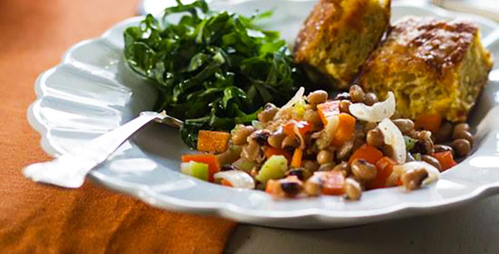 Black-eye peas, cornbread and collard greens.