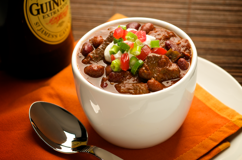 Hearty, spicy chili made with tender steak. Who can resist? This recipe yields a gallon for the game-time gang.