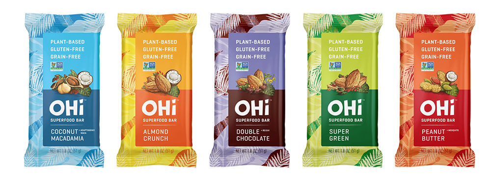 OHi superfood bars are made with a variety of organic ingredients.