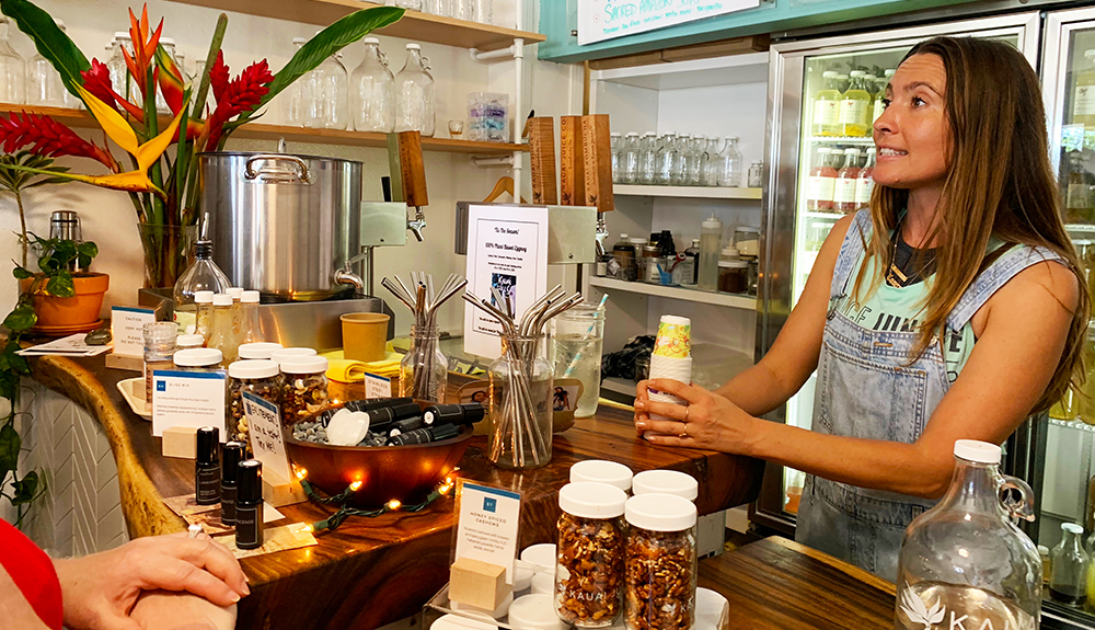 Kaua'i Juice Co. serves locally brewed Kombucha. It's a company that was started thanks to a Kickstarter campaign, although the original business plan was modified to use more locally sourced ingredients.