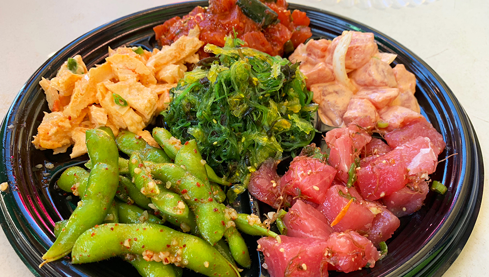 The Pono Market has become a popular stop for traditional Hawaiian take out, including for poke, a native Hawaiian dish of cubed raw fish. We sampled both the sesame ahi and the spicy ahi, the Market's top sellers.
