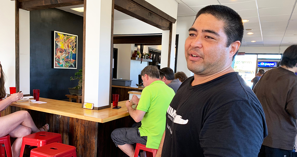 "Welcome to Hawaii. Eat something new."" That's the t-shirt slogan that greeted us at the door of Saimin Dojo, a local noodle shop and more in Kapa'a.  It's a good philosophy for travelers, and Saimin Dojo is one place to fulfill the command."