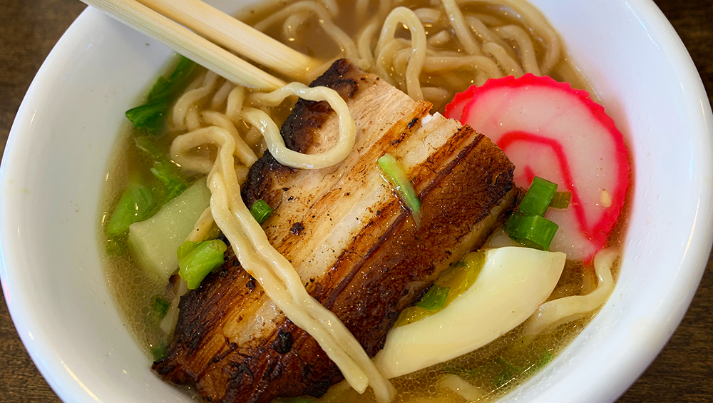 A delicious bowl filled with pork belly, serves over noodles at Saimin Dojo in Hawaii.