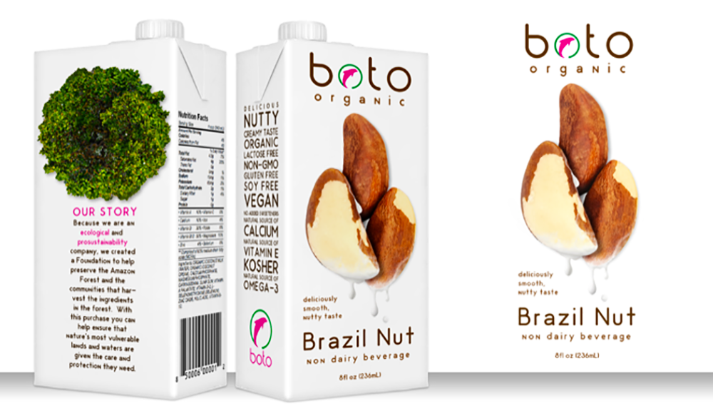 A box of boto organic Brazil nuts that emphasizes the importance of telling a brands story and ties to philanthropic causes in an authentic way.