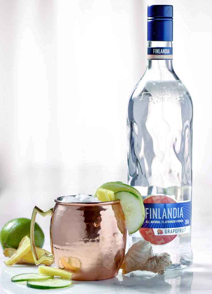 Finnish mule cocktail made with Finlandia vodka for St. Patrick's Day.