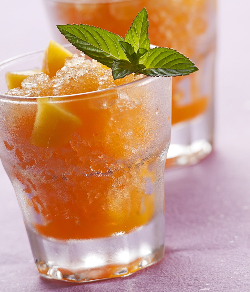 Georgia Peach and Basil Bourbon Slushy.