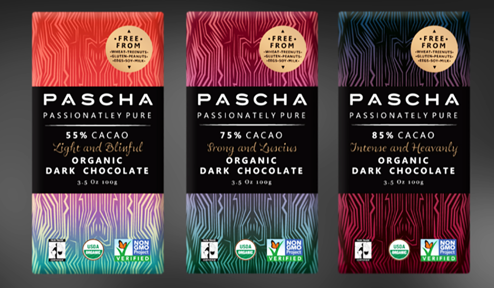 A trio of coffee bean packages that illustrate the use of gradient design. The colors move from pastels to bold to give the packaging a richness of design and to draw the eye of consumers.