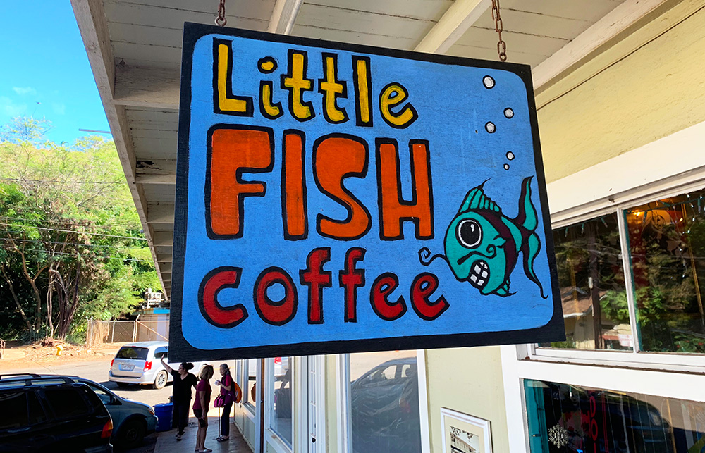 Little Fish Coffee is in the heart of Hanapepe, offering coffee and a lot more—including a poi bowl that is sampled as part of the Tasting Kaua'i tour.