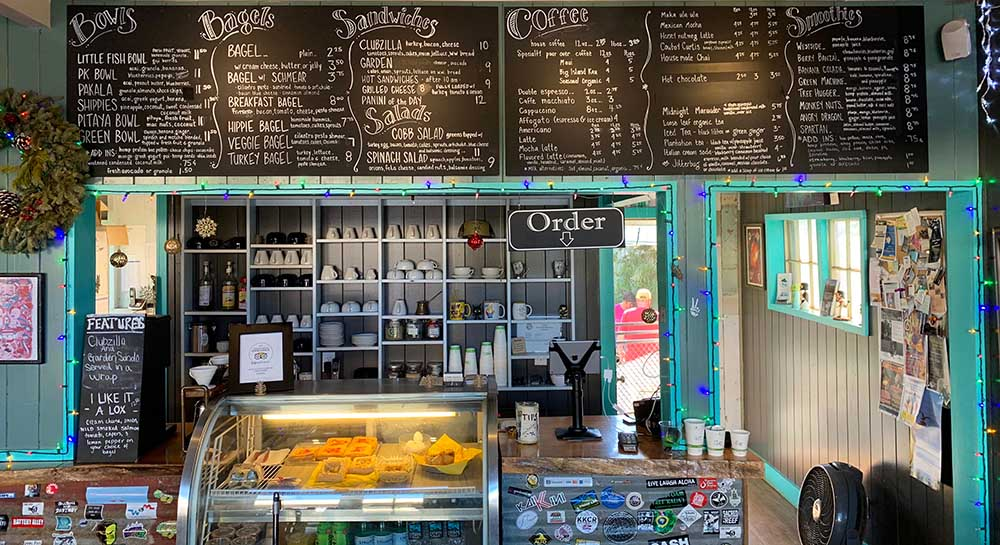 Little Fish Coffee, offering a variety of sandwiches and drinks on the Hanapepe walking tour in Kaua'i Hawaii.
