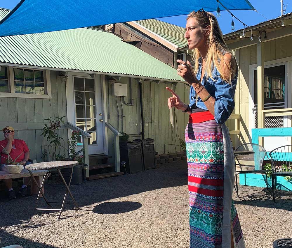 Katherine, the tour guide for the Hanapepe walking tour in Kaua'i Hawaii.