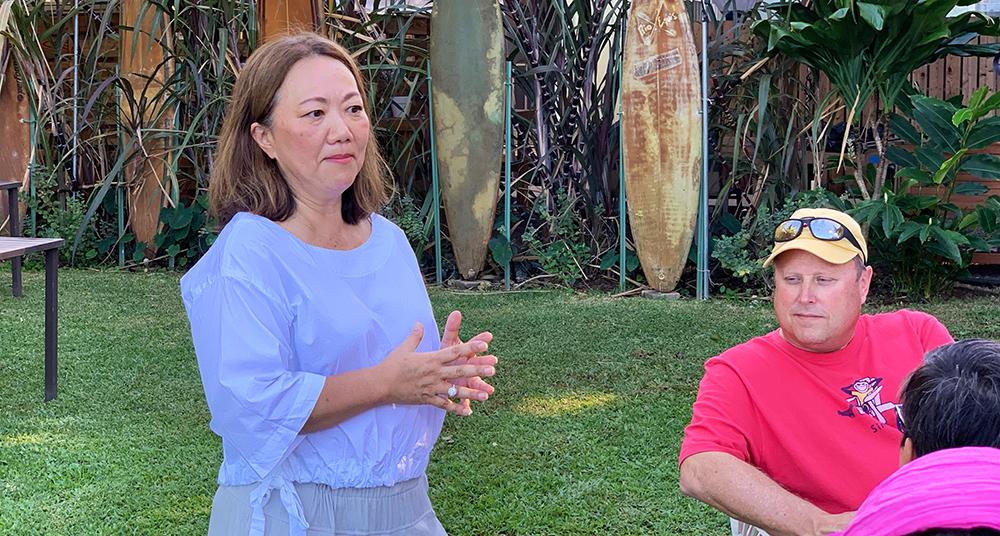 Keiko, the owner of Japanese Grandma on the Hanapepe walking tour in Kaua'i Hawaii.