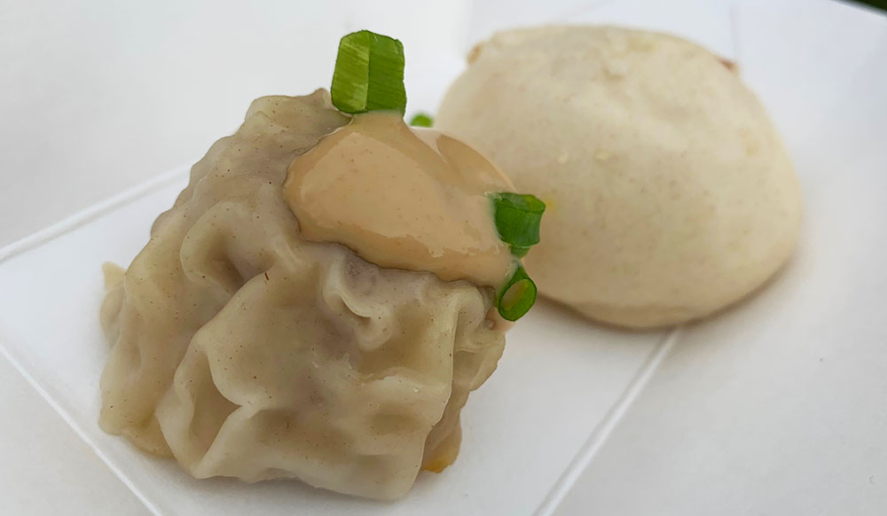 Pork dumplings from the Dim'N'Den Sum food truck—sample size.