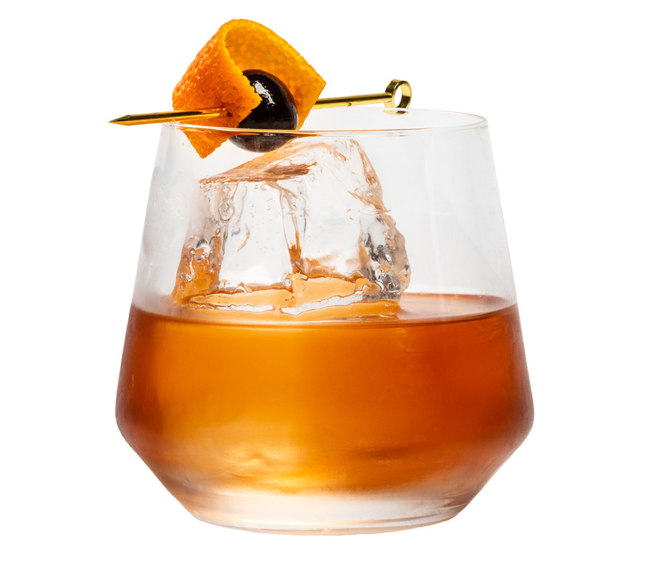 Spiced rum old fashioned made with Koloa rum.