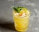 Lemon basil margarita with a mint-leaf garnish.