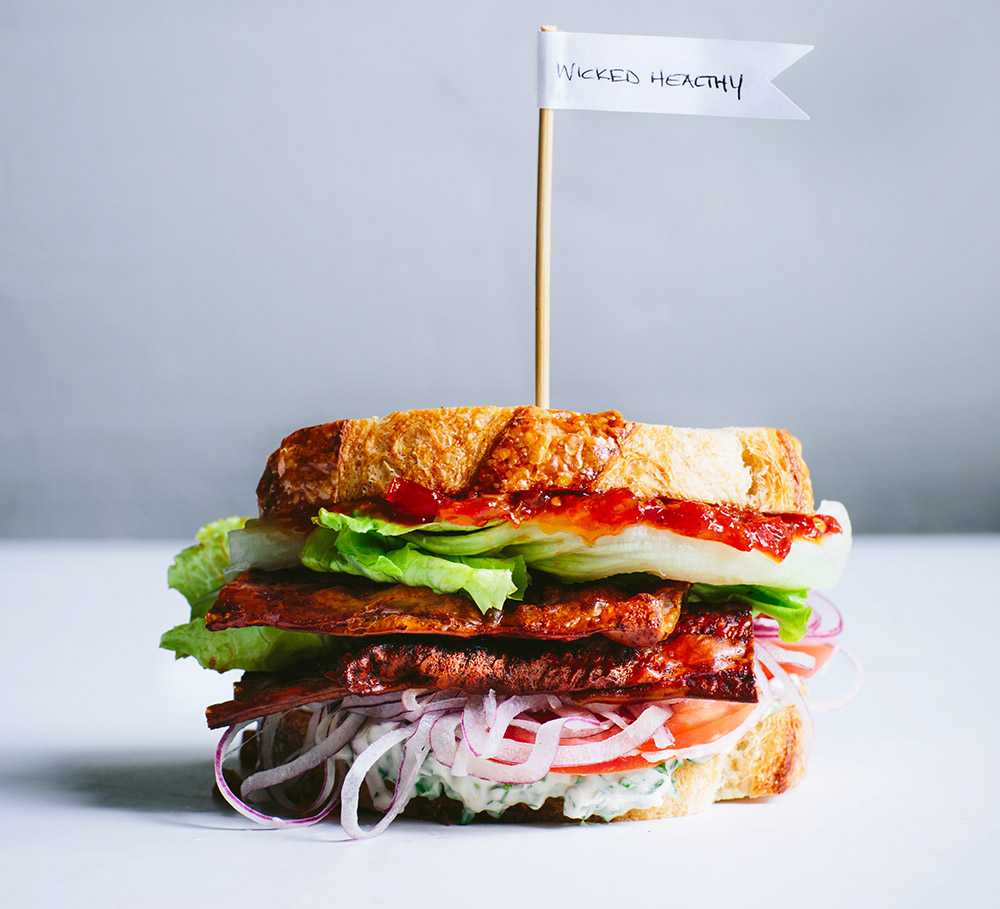 A plant-based version of a traditional bacon, lettuce and tomato sandwich from The Wicked Healthy Cookbook.