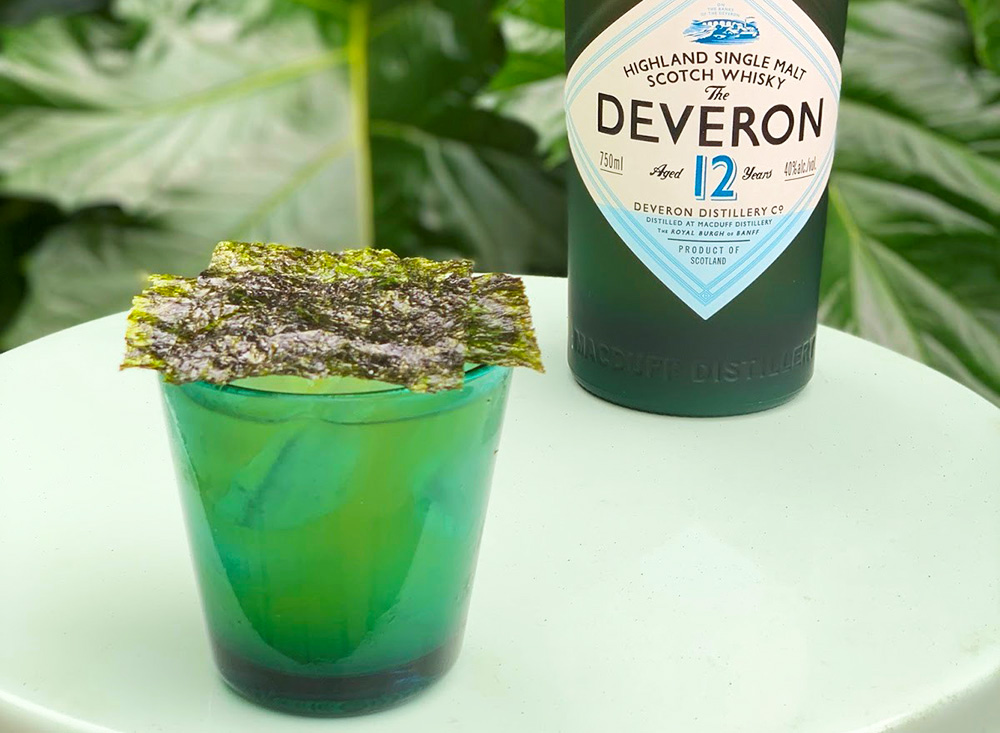This cocktail, inspired by House Greyjoy, was crafted with Deveron 12 Year Old Single Malt Scotch from the Deveron Distillery in northeastern Scotland. The scotch is nuanced with the flavors of dill and caraway from Aquavit and a touch of dried seaweed from Dashi.