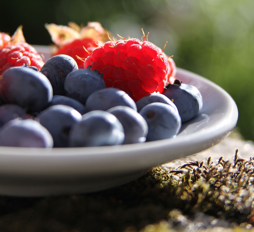 A plate of fresh raspberries and blueberries, two superfoods included in the Diabetes Superfoods Cookbook.