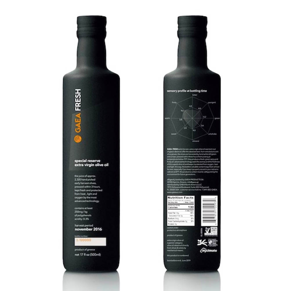 A comparison of the qualities of extra virgin olive oils on bottles provided by Gaea.