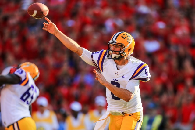 LSU Tigers quarterback Zach Mettenberger throws a pass against the Georgia Bulldogs at Sanford Stadium. (Daniel Shirey - USA TODAY Sports)