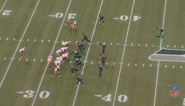 Tackle Brandon Mebane is the star man in the middle of the Seahawks base 4-3 under defense, and Earl Thomas leads a dominant secondary. Image courtesy of NFL Game Rewind.